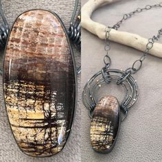 I can get lost in this stone. Fossil sequoia wood. #sydneylynchjewelry #oneofakindjewelry #oneofakindnecklace #fossilwood #accbaltimore2018