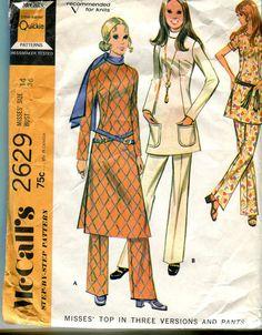 McCalls 2629 Vintage 70s Mod Pantsuit Pattern for by bellaloona, $5.00