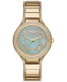 My new watch!  Michael Kors Women's Kerry Crystal Accent Gold-Tone Stainless Steel Bracelet Watch 38mm MK3481 - Watches - Jewelry & Watches - Macy's