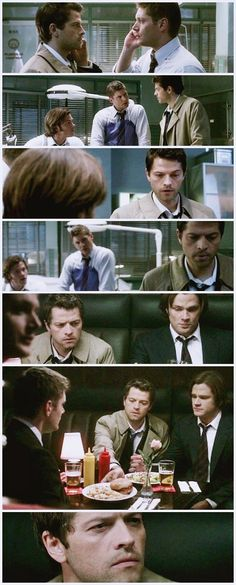 Dean: ... medical centr ...  Castiel: I'm there now Dean: Yeah, I get that! Castiel: I'm gonna hang up....now