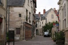 The old town of Chinon, on the river Vienne, France