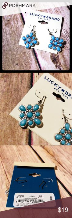 Lucky Brand silver earrings NWT.Perfect for Valentine's Day present or just because.Beautiful baby blue.No holds no trades Lucky Brand Jewelry Earrings