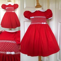 Hand smocked dresses all finished for a customers Xmas order
