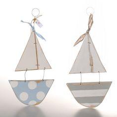 Handmade Wooden Stripy Sail Boat   GWAG