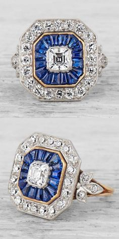 Tiffany & Co.-Art Deco Sapphire/Diamond Ring