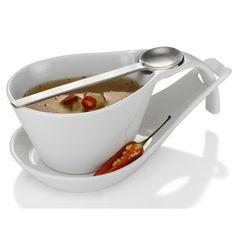 Ceasca si farfurioara, cu lingurita, set pentru servit supe sau deserturi.