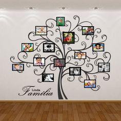 """Monte sua árvore genealógica! Adquira o adesivo da árvore e pendure seus porta-retratos nela, distribuindo pelos galhos.    Este anúncio refere-se ao tamanho 103 x 85 cm.    Para comprar um tamanho maior, basta clicar em """"Comprar este produto"""" e logo após em """"Adicionar observação"""", informando o t... Family Tree With Pictures, Family Tree Photo, Family Photo Frames, Family Tree Wall Decal, Tree Wall Decor, Family Wall, Frame Wall Collage, Frames On Wall, Decoration Entree"""