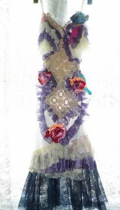 Dress lace slip dressupcycled slipvintage crochet by radusport