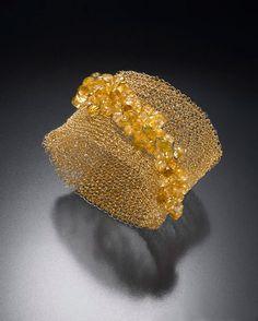 Bracelet.  Gold-filled wire, Citrines.