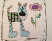 Quilted, original ink drawing, whimsical dog with flower, quilted patterns, colorful, happy, smile, dog art