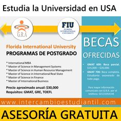 #Beca #Scholarship #FIU #Florida #USA #Universidad #College #MBA  #GRAcademic  #Postgrado  www.intercambioestudiantil.com - info@intercambioestudiantil.com
