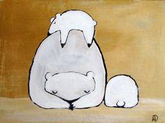 Whimsical Polar Bear Painting, Nursery Art,  Children Decor, Original Wall Art, Original Acrylic Painting