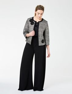 Marina Rinaldi CHANCE white: Lurex basketweave boxy jacket.