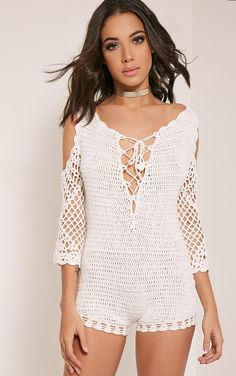 Catarosa Cream Crochet Cold Shoulder Playsuit