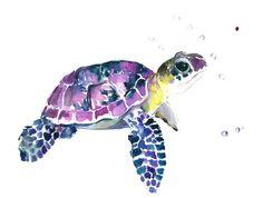 Sea Turtle, Original watercolor painting, 9 X 12 in, purple blue yellow see…