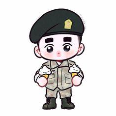 Chibi kyungsoo on military uniform Exo Wallpaper Hd, Exo Cartoon, Exo Stickers, Exo Anime, Simple Arabic Mehndi Designs, Cute Cartoon Images, Exo Fan Art, Cute Art Styles, Kpop Exo