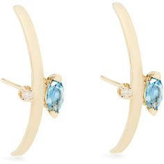 Loren Stewart Diamond, topaz and yellow-gold earrings ($744) ❤ liked on Polyvore featuring jewelry, earrings, blue, sparkly earrings, yellow gold diamond earrings, blue gold jewelry, blue diamond earrings and blue diamond jewelry