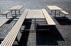 Here's some pretty cool outdoor seating designed by JACKIE-B design studio for Cafe Mandela in Copenhagen that encourage diners to interact and de-segregate from each other.