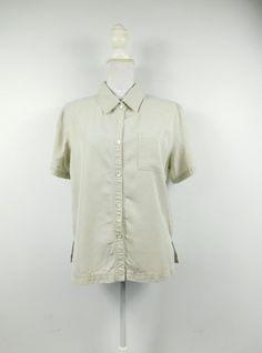 f4f266c12b7618 50% SUMMER SALE Vintage Valerie Stevens Khaki Tan Solid Boxy Minimal Short  Sleeve Collared Button Down Shirt Top Blouse Sz Large