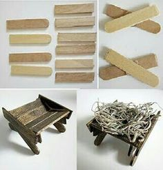 Pesebre de Belen o Natividad / Manger from recycled craft sticks/ (in Spanish -- lots of photos) Nativity Stable, Christmas Nativity Scene, Nativity Crafts, Christmas Villages, Christmas Art, Christmas Projects, Holiday Crafts, Christmas Decorations, Christmas Ornaments