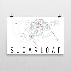 Sugarloaf Ski Map Art, Sugarloaf ME, Sugarloaf Trail Map, Sugarloaf Ski Resort Print, Sugarloaf Poster, Sugarloaf Mountain, Art, Gift
