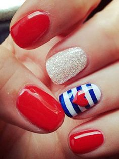 Red, White and Blue Fourth of July Nail Design