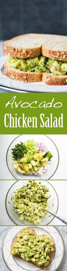 Easy and Healthy! Avocado chicken salad with avocado, chopped cooked chicken, apple, celery, and onion. No Mayo! On SimplyRecipes.com #avocado #chickensalad #chicken #sandwich