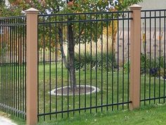 wrought iron fence with wood posts - Google Search