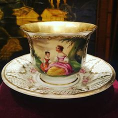 Antique Tea Cups, Breakfast Cups, High Tea, Pottery Art, Cup And Saucer, Porcelain, Hand Painted, France, China