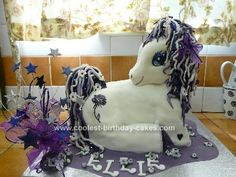 Homemade My Little Pony Purple Birthday Cake: First Id like to say thanks to all the people who gave their ideas on this site. I made this My Little Pony birthday cake after looking at your lovely