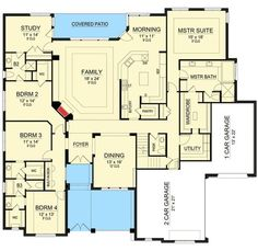 Plan 36510TX: Traditional House Plan With Lower Level Media Room