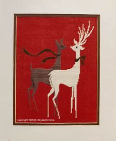 Christmas Reindeer (N01) for Needlepoint or Cross Stitch