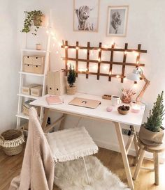 diy projects Apartment desks - Simple, Easy & Intimidating DIY Desk Ideas - Thrift with Vitor Cute Bedroom Decor, Room Ideas Bedroom, Bedroom Inspo, Office In Bedroom Ideas, Office Ideas, Cute Desk Decor, Bedroom Small, Teen Bedroom Desk, Small Bedroom Decor On A Budget