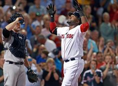 David Ortiz crosses the plate after banging out home run No. 495 into the Monster seats in the fourth inning.