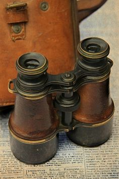 Leather and brass binoculars