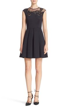 Free shipping and returns on Ted Baker London Dollii Skater Dress at Nordstrom.com. Delicate mesh tops the lacy, flower-bedecked neckline of a chic skater dress with a nipped-in waist and discreet pockets that stash your night-out essentials.