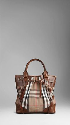 Burberry medium House Check Bridle Leather Tote Bag x 554df9a9d22b2