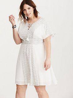 Print Inset Gauze Skater Dress, DOTTY LOVE