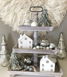 Pretty Christmas decor on tiered tray