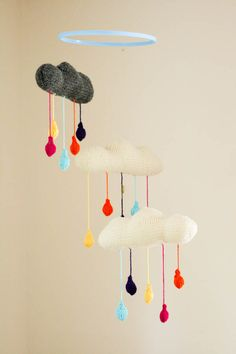 knitted rain cloud mobile