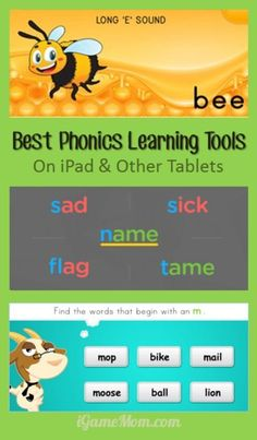 Best Phonics Learning Tools for Kids on iPad and Other Tablets - fun interactive phonics activities and games making learning interesting and engaging. You can find teaching ideas for preschool kindergarten and school age students. Fun Phonics Activities, Teaching Phonics, Educational Activities, Teaching Reading, Learning Activities, Teaching Ideas, Educational Websites, Educational Technology, Reading Skills