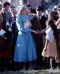 April 24, 1983:  Princess Diana at a Tribal Welcoming Ceremony at the Te Poho-o-Rawiri Marae Meeting House, Gisborne.  (Day 36)