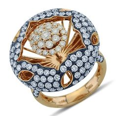 Spellbinding Round Cut Diamond Open Dome Cluster Fashion Ring In 18K Two Tone Gold    $6,546.00
