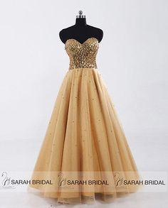 A-Line Long Sweetheart Prom Party Gown Gold Formal Evening Tulle Women Dresses