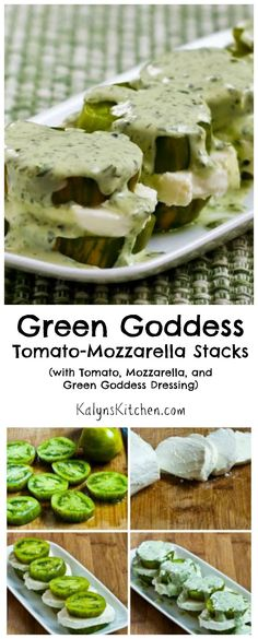 If you like tomatoes, fresh mozzarella, and Green Goddess Dressing, you'll swoon over these Green Goddess Tomato-Mozzarella Stacks. This is a perfect treat for any summer holiday party or family get-together. I love this with Green Zebra tomatoes, but any flavorful summer tomato will be fantastic in this. [from KalynsKitchen.com] #LowCarb #GlutenFree #SouthBeachDiet