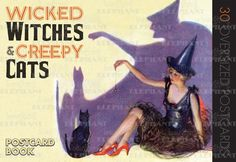 Cats Halloween Holidays Imprint: Darling & Company Jack-o-Lanterns Victorian Witches Women'