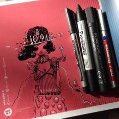 9/55 signed copy. Pens used (from left to the right):  Stabilo - F - write4all - permanent black  letraset promarker - cool grey 2 - permanent  staedtler lumocolor - permanent black  edding 780 - paint marker - permanent white  Have a beautiful sunny day! #365SQUARES #ARTBOOK #dailydrawing by moon_mxtr