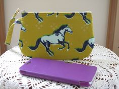 Horse Mustang Clutch Wristlet Zipper Gadget Purse Pouch Gold - pinned by pin4etsy.com