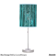 Blue Grunge Owl Desk Lamp