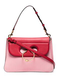 Shop JW Anderson Pink Pierce Medium Leather Shoulder Bag
